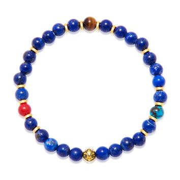 Men's Wristband with Blue Lapis, Bali Turquoise and Brown Tiger Eye