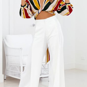 Power Move White High Waist Wide Leg Flare Palazzo Pants