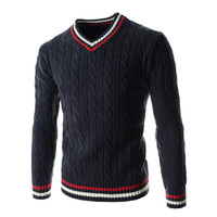 Mens Knitted V-Neck Sweater