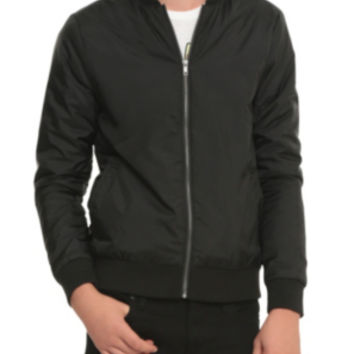 RUDE Black Nylon Bomber Jacket