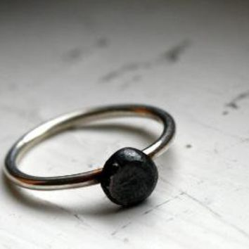Minimalist Engagement Ring Oxidized Sterling Silver by luckyduct