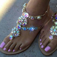 Fashion Womens Summer Rhinestones Thong Gladiator Sandals Flats Beach Slippers s