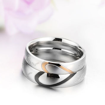 1 piece Romantic Stainless Steel Couple Wedding Engagement lovers Ring Half Heart Puzzle Men Jewelry His & Her Promise Ring
