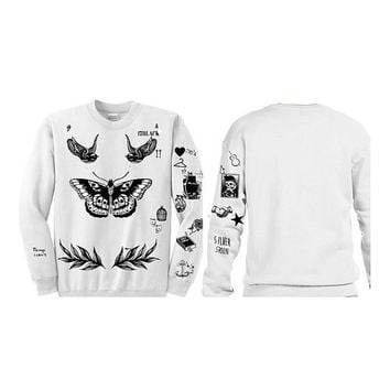 Harry Styles Tattoos Updated Sweatshirt Sweater Crewneck Jumper White Gray 1D Shirt Sz Small - 5XL