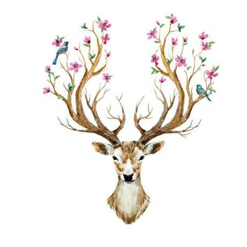 Hot Selling 3D Sticker Muraux Animal Deer Head Wall Stickers For Kids Rooms Bedroom Flower Vintage Poster Home Decor Mural Decal