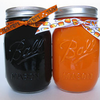 Halloween Mason Jars, Painted Mason Jars, Black and Orange Mason Jars, Halloween Decorations, Halloween, Fall Decorations