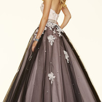 Long Lace and Tulle Ball Gown Style Mori Lee Prom Dress