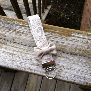 Lace Bow Key Fob...Bow Keychain...Lace Keychain