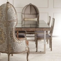Bernhardt Kanella Balloon Chair, Tarragon Dining Table, & Avalon Dining Chair