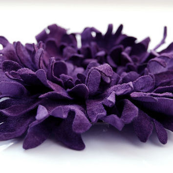 Deep purple leather flower pin brooch