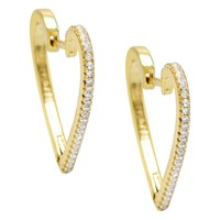 Open Heart Pave Hoop Earring
