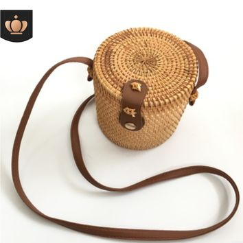 Embellished Brown Cylinder Vintage Wicker Straw Handbag