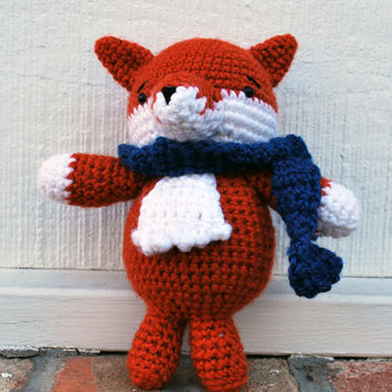 Little Fox Amigurumi - Fantastic Mr. Fox -like figurine - fox stuffed animal - Adorable and soft! Stuffed firmly and sewn tightly, handmade