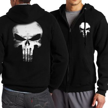 new arrival brand tracksuits 2017 The Punisher novelty skull long sleeve hoodies fashion zipper kpop jackets men spring autumn