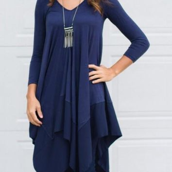 New Blue Irregular Pleated Long Sleeve Round Neck Countryside Cowboy Casual Maxi Dress