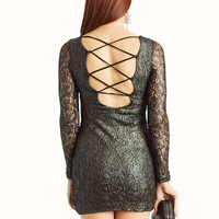 metallic-lace-dress GUNMETAL KHAKI - GoJane.com