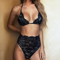 Sexy Solid Color High Waist Lace Halter Underwear Lingerie Set