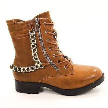 Explore01 Chestnut By Bamboo, Women's Punk Rock Gothic Chained Biker Combat Boot Zippers