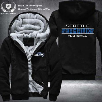 Dropshipping USA Size Unisex Seattle Seahawks Winter Thicken Fleece Hoodie Zipper Sweatshirt Jacket Costume Tracksuit made