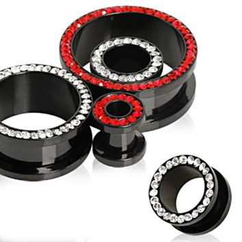 Black PVD Plated Multi CZ Screw Fit Tunnel Plug