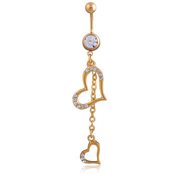 New Charming Dangle Crystal Navel Belly Ring Bling Barbell Button Ring Piercing Body Jewelry = 4804897540