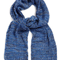 BLUE MIXED YARN WAFFLE SCARF - Scarves  - Shoes and Accessories