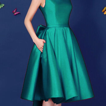 Green Backless Bowknot Back Lacing Prom Skate Dress