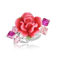 Dolci Gioie Designer Rings Sterling Silver Red Rose Ring