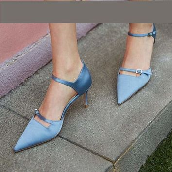 Suede Pointed Toe Ankle Buckle Strap Pumps