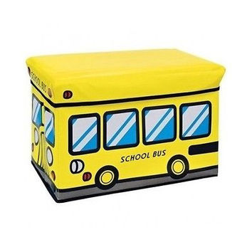 Storage Ottoman Yellow Kids School Bus Style Toy Box Large Collapsible Den