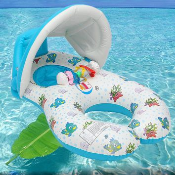 Inflatable Mother Baby Safe Swimming Ring Kids Toy Raft Seat Floating Chair Beach Toy