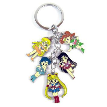 Sailor Moon 5 Figure Metal Key Chain