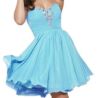 Homecoming Dress,Blue Chiffon Crystal Beadings Strapless Short Prom Dress