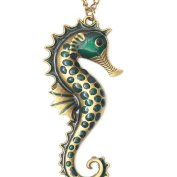 Green Seahorse Necklace Aquatic Coral Reef NG14 Mermaid Polished Ocean Charm Pendant Fashion Jewelry