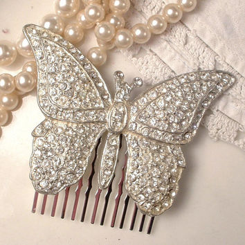1920s Bridal Hair Comb, Art Deco 1930s Vintage Clear Rhinestone Butterfly Hair Accessory, Heirloom Pave Crystal Brooch to OOAK Headpiece