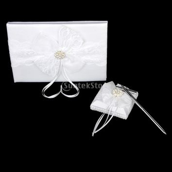 White Lace Bow Diamante Embellished Wedding Guest Book Pen and Stand Set