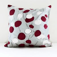 Raspberry spot pillow cover, 16 inch cushion cover in Romo Sapota fabric in cerise raspberry and stone UK seller