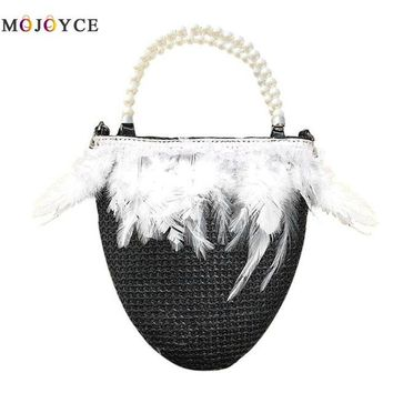 Family Friends party Board game 2018 Straw Women Beads Handle Bucket Handbag Summer Beach Feathers Messenger Bag Fashion Chain Shoulder Bag AT_41_3