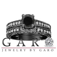 1.32 Carat Fancy Black & White Diamond Engagement Ring Wedding Anniversary Band Sets Vintage Style 14K Black Gold VVS1 Certified HandMade