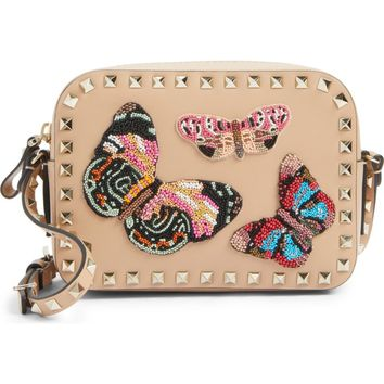 Valentino Rockstud Beaded Butterfly Leather Camera Crossbody Bag | Nordstrom