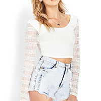 FOREVER 21 Lovely in Lace Crop Top