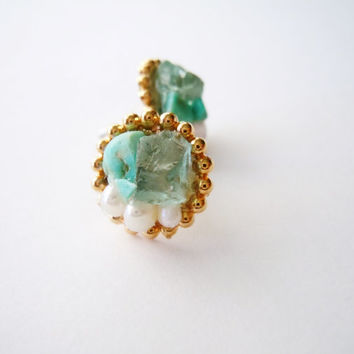 Pearls, Turquoise and Blue Apatite Post Earrings -Raw Stone- Spring Wear - Fashion Earrings
