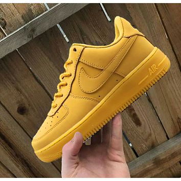 Nike Air Force 1 Fashion Women Men Casual Running Sport Shoes Sneakers Yellow