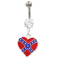 Heart Shaped Rebel Flag Dangle Belly Ring