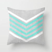 Teal and White Chevron on Silver Grey Wood Throw Pillow by Tangerine-Tane