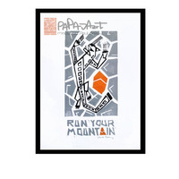 Run your Mountain - Handmade linocut print on A5, Running print, Snow Leopard linoprint