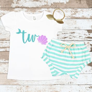 Sea Shell Mermaid Two Mint Shorts Outfit