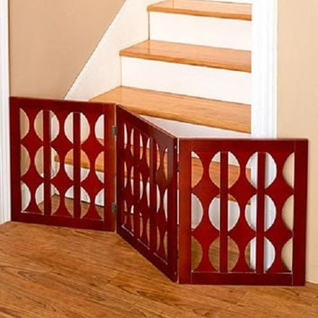 Classic Wooden Pet Gates 3-Panel Safety Training Baby Restriction Barrier Adjust