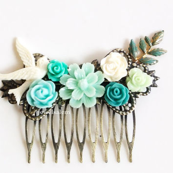 Mint Wedding Hair Comb Bridesmaids Gift Bridal Hair Pin Head Piece Vintage Style Shabby Chic Romantic Autumn Winter Spring Summer