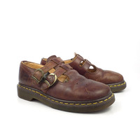 Doc Martens Shoes Mary Janes 1990  Brown Leather T strap UK size 4 Women's US size 6